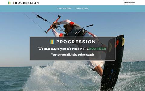 Screenshot of Home Page progression.me - Progression Sports : Kitesurfing and Kiteboarding instructional videos - captured May 9, 2018