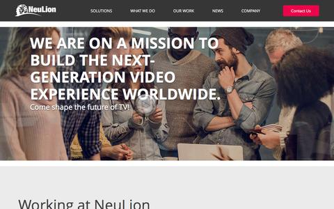 Screenshot of Jobs Page neulion.com - Careers | NeuLion - captured May 9, 2017