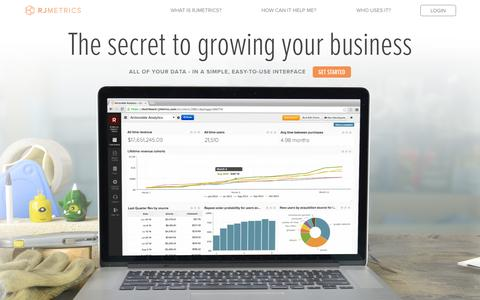 Screenshot of Home Page rjmetrics.com - RJMetrics | Business Intelligence for Ecommerce, SaaS & Mobile - captured Jan. 15, 2015