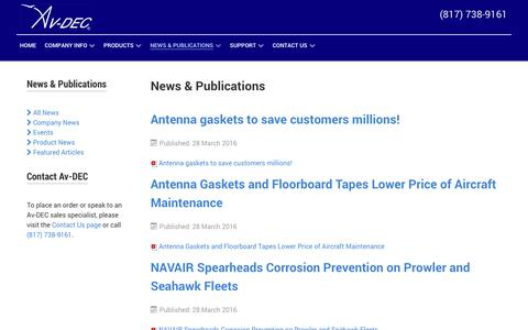 Screenshot of Press Page avdec.com - News & Publications   Av-DEC Aviation Devices & Electronic Components, Corrosion Preventing Aircraft Gaskets, Tapes, Sealants - captured Nov. 21, 2016