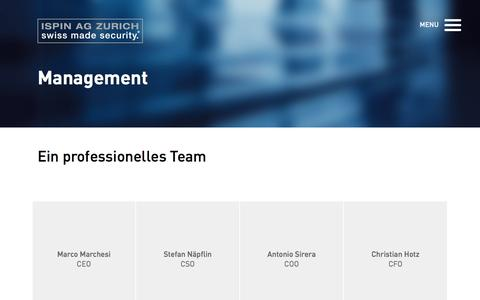 Screenshot of Team Page ispin.ch - Management - ISPIN AG Zürich - captured Nov. 19, 2016
