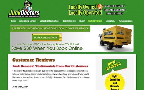 Screenshot of Testimonials Page junkdrs.com - Junk Removal Customer Testimonials | Junk Doctors - captured Feb. 12, 2016