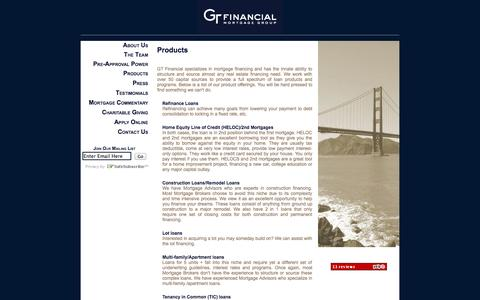 Screenshot of Products Page gtfinancialgroup.com - Products - captured Oct. 1, 2014