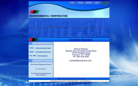 Screenshot of Contact Page bowdenenv.com - Contact BEC - captured Feb. 8, 2016