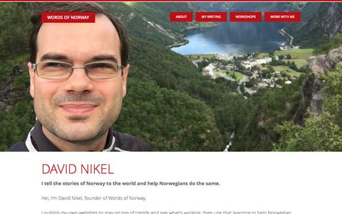 Screenshot of About Page wordsofnorway.com - David Nikel: A freelance journalist in Norway - captured June 14, 2017