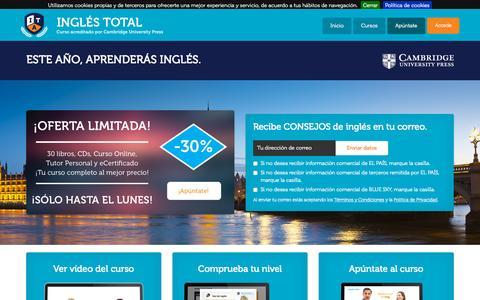 Screenshot of Home Page inglestotal.es - INGLÉS TOTAL. El curso completo de inglés acreditado por Cambridge University Press. - captured Sept. 6, 2015