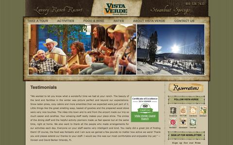 Screenshot of Testimonials Page vistaverde.com - Colorado Luxury Ranch Resort | Vista Verde Ranch | Learn More | Colorado Luxury Ranch Resort | Vista Verde Ranch - captured Oct. 1, 2014