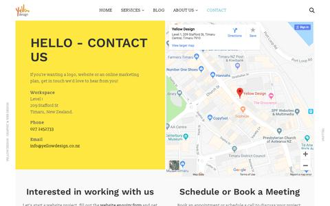 Screenshot of Contact Page yellowdesign.co.nz - Yellow Design - Logo, Website & Graphic Design - Contact Us - captured Sept. 20, 2018
