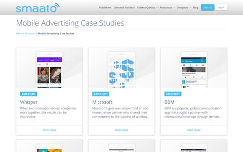 Screenshot of Case Studies Page smaato.com - Mobile App Monetization Case Studies - Smaato - captured Aug. 5, 2018