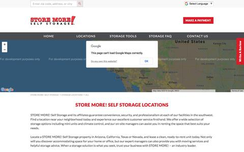 Screenshot of Locations Page storemoreselfstorage.com - Storage Facilities in Arizona, California, Texas, and Nevada | STORE MORE! Self Storage - captured July 26, 2018