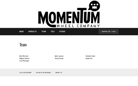 Screenshot of Team Page momentumskate.com - Team - captured Nov. 29, 2016