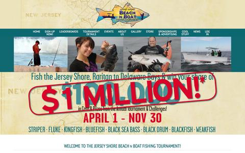 Screenshot of Home Page beachnboat.com - Welcome to the Jersey Shore Beach N Boat Fishing Tournament! - Beach N Boat Fishing Tournament - captured Oct. 6, 2014