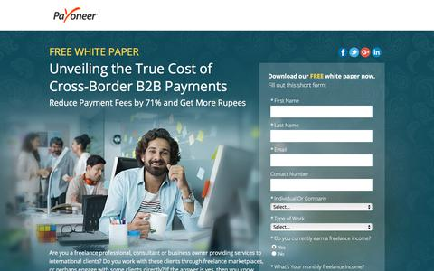 Screenshot of Landing Page payoneer.com - Free White Paper: Unveiling the True Cost of Cross-Border B2B Payments - captured March 2, 2018