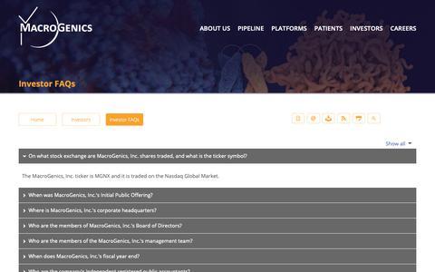 Screenshot of FAQ Page macrogenics.com - Investor FAQs | MacroGenics, Inc. - captured Oct. 1, 2018