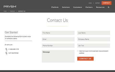 Screenshot of Contact Page prysm.com - Contact Us   Schedule a Demo   Contact Prysm Inc. - captured Sept. 19, 2017