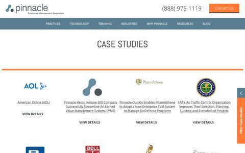 Screenshot of Case Studies Page pinnaclemanagement.com - Project Management Case Studies   Pinnacle Management Systems - captured Sept. 28, 2018