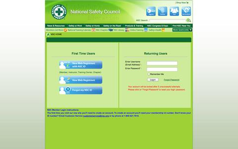 Screenshot of Login Page nsc.org - National Safety Council - captured Sept. 19, 2014