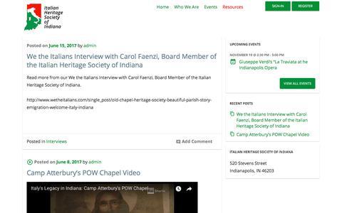Screenshot of Blog italianheritage.org - Blog - Italian Hertitage Society of Indiana - captured Oct. 15, 2017