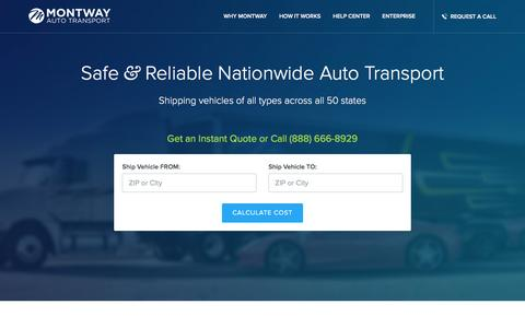 Screenshot of Home Page montway.com - Five Star Car Shipping Services by Montway - captured Dec. 4, 2015