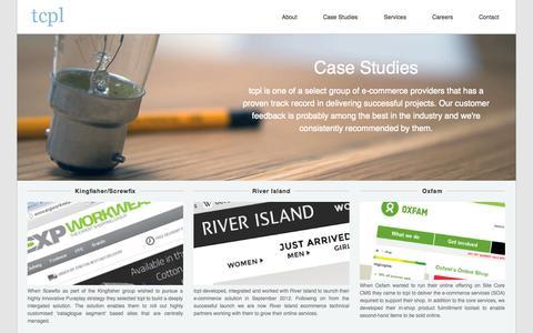 Screenshot of Case Studies Page tcpl-e.com - E-commerce Case Studies - tcpl - captured Oct. 7, 2014