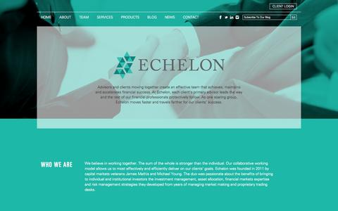 Screenshot of About Page Contact Page Services Page Team Page echelonim.com - Echelon Investment Management   - captured Oct. 1, 2014