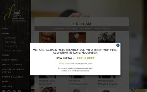 Screenshot of Team Page fooddance.net - The Team - Food Dance - captured Nov. 6, 2018
