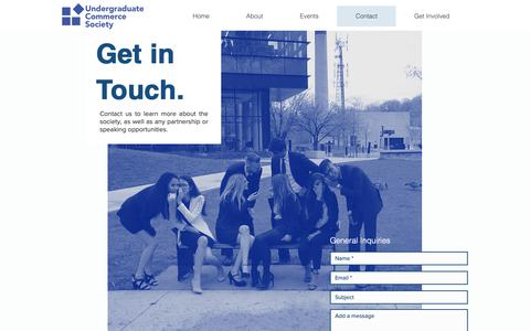 Screenshot of Contact Page utmucs.ca - Contact   Undergraduate Commerce Society - captured Oct. 18, 2018