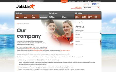 Screenshot of About Page jetstar.com - Our Company | Jetstar - captured Sept. 18, 2014