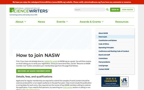 Screenshot of Signup Page nasw.org - How to join NASW   ScienceWriters (www.NASW.org) - captured Oct. 18, 2018