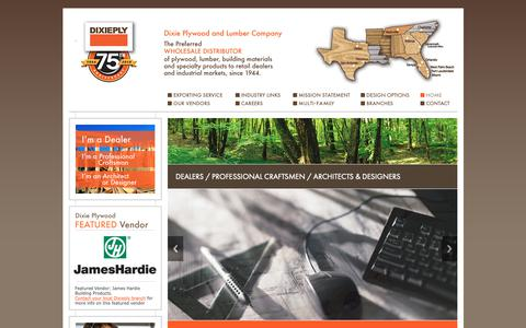 Screenshot of Home Page dixieply.com - Wholesale Plywood and Lumber | Dixie Plywood and Lumber Company - captured May 21, 2019