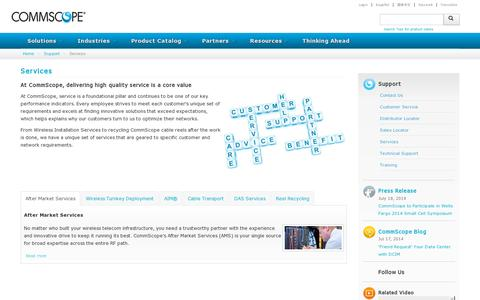 Screenshot of Services Page commscope.com - Services - captured July 21, 2014