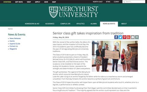 Screenshot of mercyhurst.edu - Senior class gift takes inspiration from tradition | Mercyhurst University - captured May 21, 2016