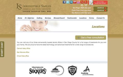 Screenshot of Locations Page safariandmd.com - Locations - San Diego Dentist - captured Sept. 25, 2018