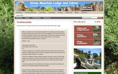 Screenshot of Testimonials Page stonemountainlodge.com - Testimonials : Stone Mountain Lodge and Cabins - captured Oct. 6, 2014