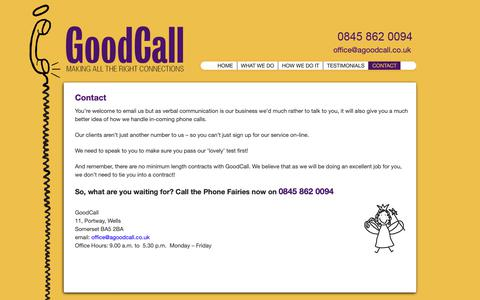 Screenshot of Contact Page agoodcall.co.uk - GoodCall | Contact - captured Sept. 29, 2018