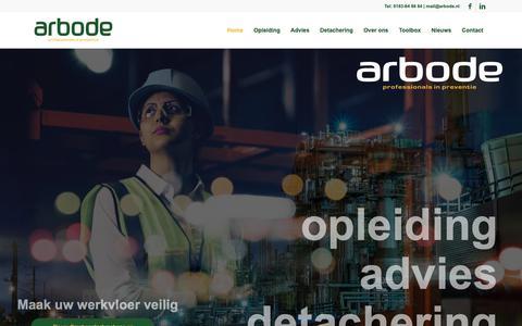Screenshot of Home Page arbode.nl - Arbode | Professionals in preventie | Opleiding, advies & detachering - captured Oct. 4, 2018