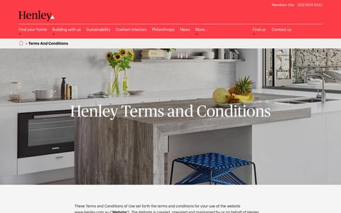 Screenshot of Terms Page henley.com.au - Terms and Conditions | Henley - captured Jan. 29, 2017