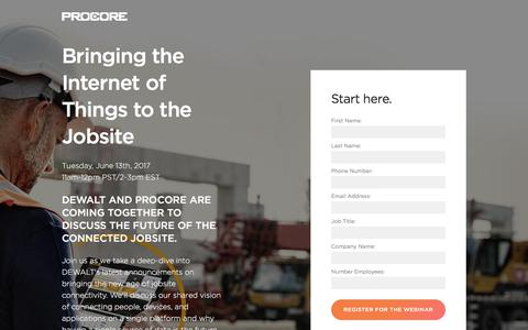 Screenshot of Landing Page procore.com - Bringing the Internet of Things to the Jobsite - captured July 27, 2017