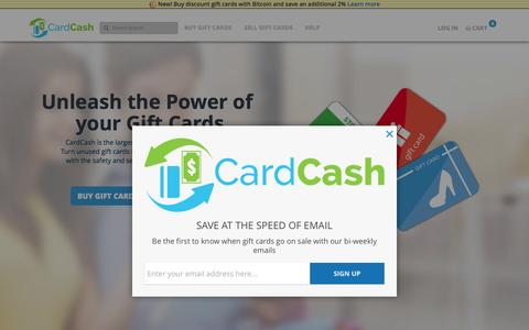 Screenshot of Home Page cardcash.com - Gift Card Exchange - Buy, Sell and Trade Gift Cards Online - captured Dec. 4, 2015