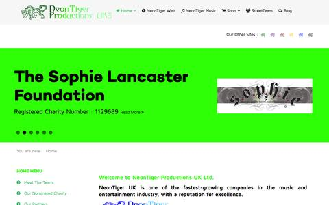 Screenshot of Home Page neontigeruk.com - Welcome to NeonTiger Productions UK Ltd. - captured Sept. 5, 2015