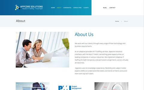 Screenshot of About Page appcoresolutions.com - About – AppCore Solutions | Adaptive IT staffing – Priced Right - captured Oct. 8, 2017