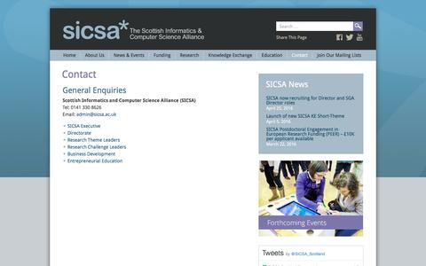 Screenshot of Team Page sicsa.ac.uk - Contact - SICSA - The Scottish Informatics & Computer Science Alliance - captured May 21, 2016