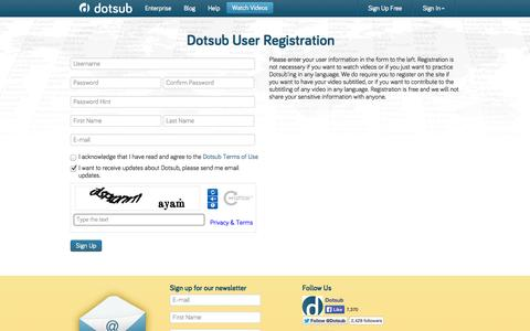 Screenshot of Signup Page dotsub.com - The leading way to caption and translate videos online | Dotsub - captured Sept. 19, 2014