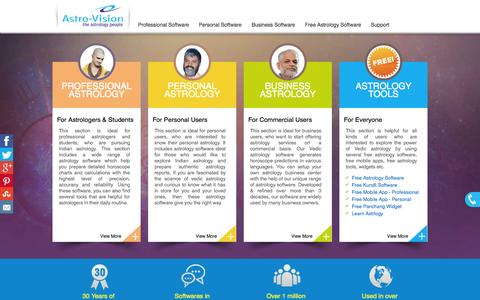 Screenshot of Home Page indianastrologysoftware.com - Astrology Software from Astro-Vision® - Trusted Since 1984 - captured Oct. 2, 2015