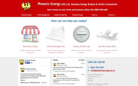 Screenshot of Home Page phoenixenergy.co.uk - Phoenix Energy - captured Sept. 29, 2014