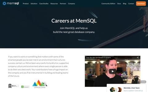 Screenshot of Jobs Page memsql.com - Work at MemSQL - MemSQL Careers - captured March 17, 2016