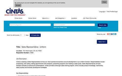 Screenshot of Jobs Page cintas.com - Sales Representative - Uniform - captured Oct. 26, 2018
