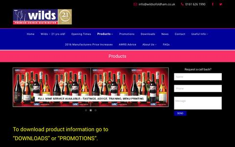 Screenshot of Products Page wildsofoldham.co.uk - Products - Wilds - captured Feb. 23, 2016