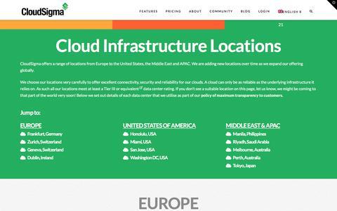 Screenshot of Locations Page cloudsigma.com - Public cloud locations | Cloud Servers - captured July 7, 2019