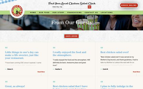 Screenshot of Testimonials Page chickensaladchick.com - Guest Reviews | Chicken Salad Chick - captured Nov. 4, 2018